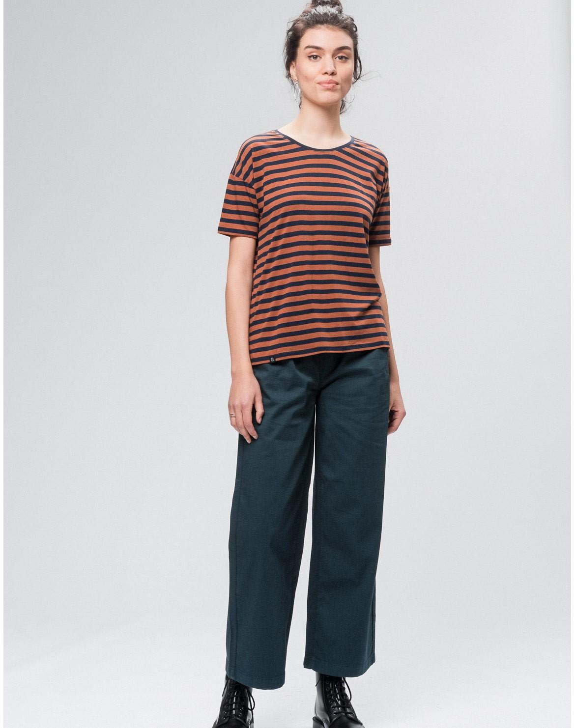 Stripes Overlap Tencel T-Shirt
