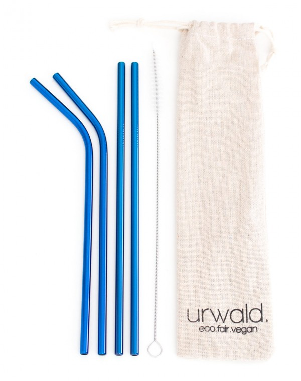 Edelstahl-Trinkhalme Set 4 Stk.+Bürste 6mm blau