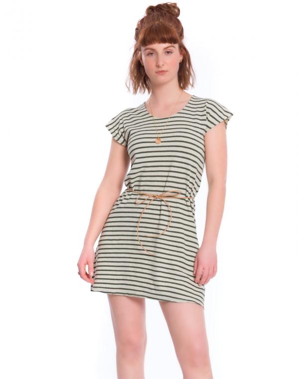 Striped Leinen Kleid