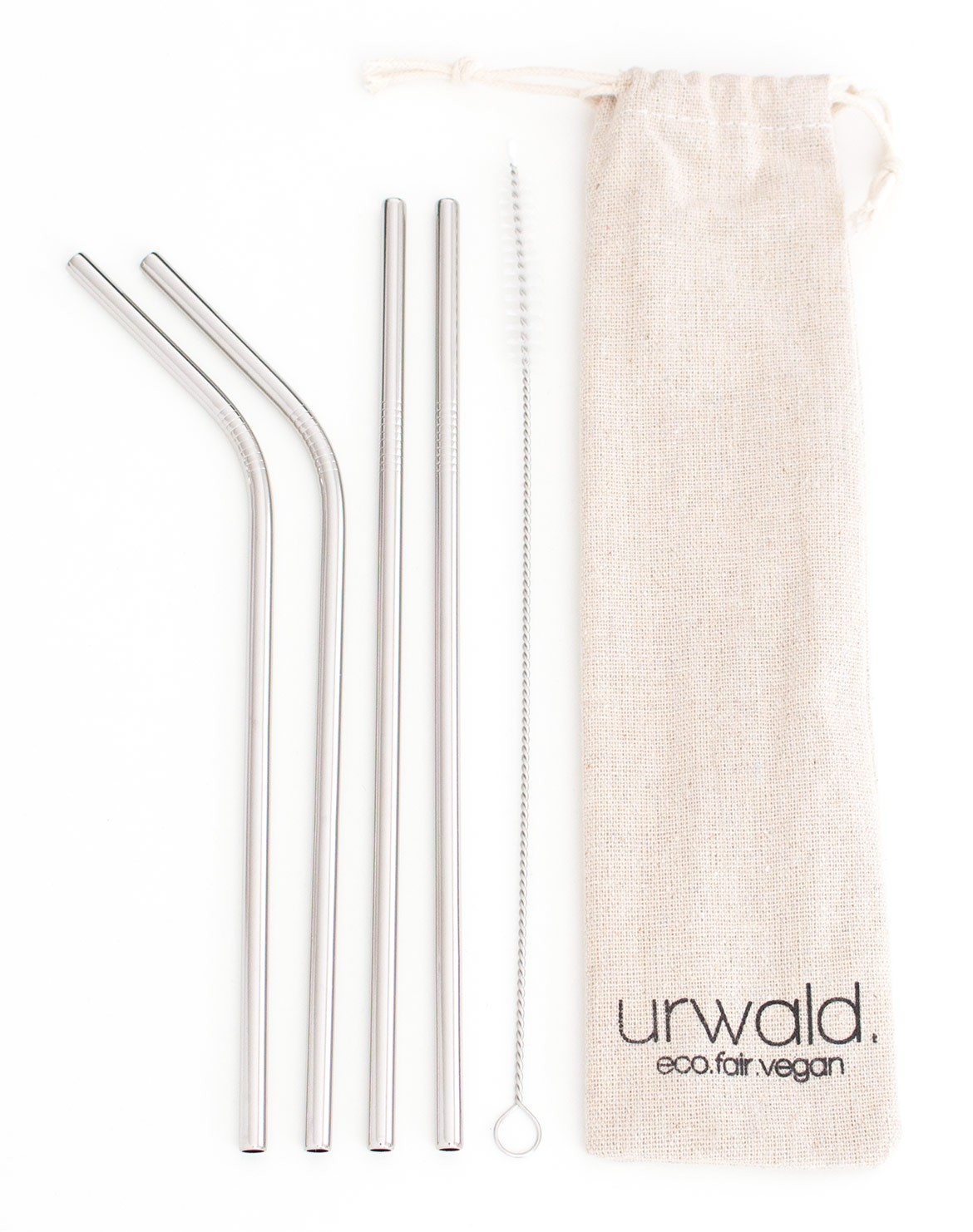 Stainless Steel Straw Set 4 pcs. + Brush silver