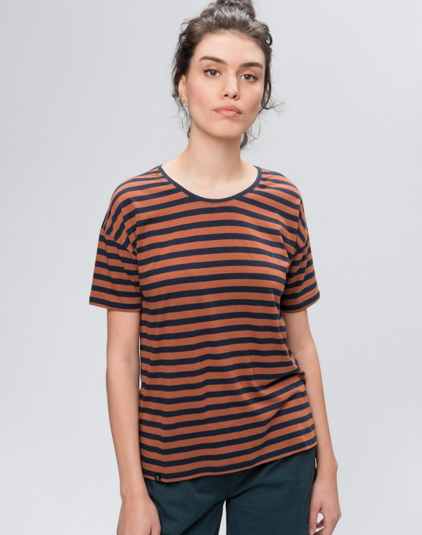 Stripes Overlap Tencel T-Shirt