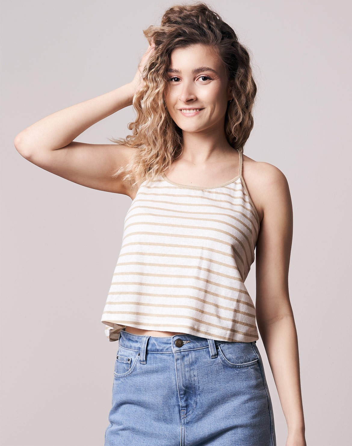 Cropped Striped Leinen Top
