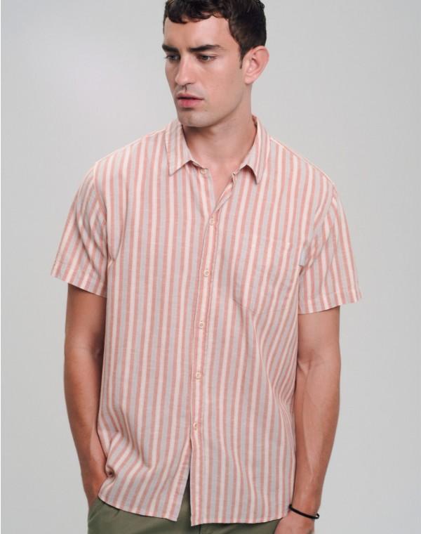 Stripes Linen Kurzarmhemd
